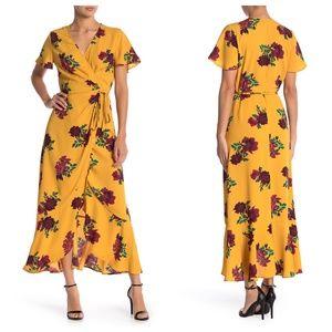Free Press Floral Pattern Short Sleeve Wrap Dress